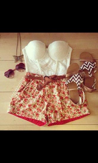 shorts floral shorts tank top