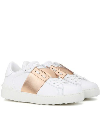 open metallic sneakers leather white shoes