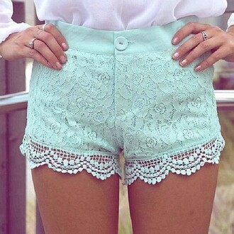 shorts cute mint summer lace colorful shorts floral floral lace shorts light blue