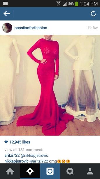 dress red tight long sleeve long  dress