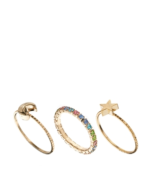 ASOS | Limited Edition Moon Star Ring Pack at ASOS