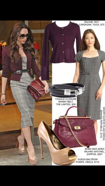 dress cardigan high heels belt