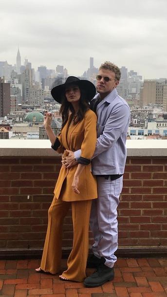 pants blazer mustard emily ratajkowski model off-duty hat menswear jacket