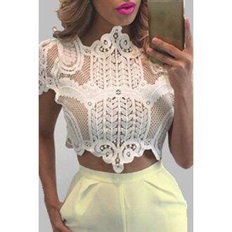 top white lace fashion trendy sexy tan girly feminine rose wholesale-ap