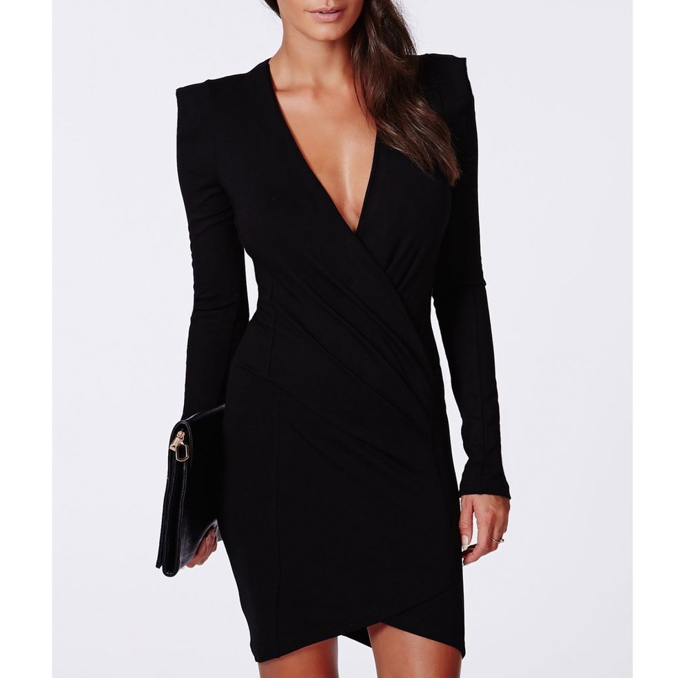 MEDIUM PLUNGING CROSS OVER V-NECK PADDED LONG SLEEVE MINI BODY-CON BLACK DRESS