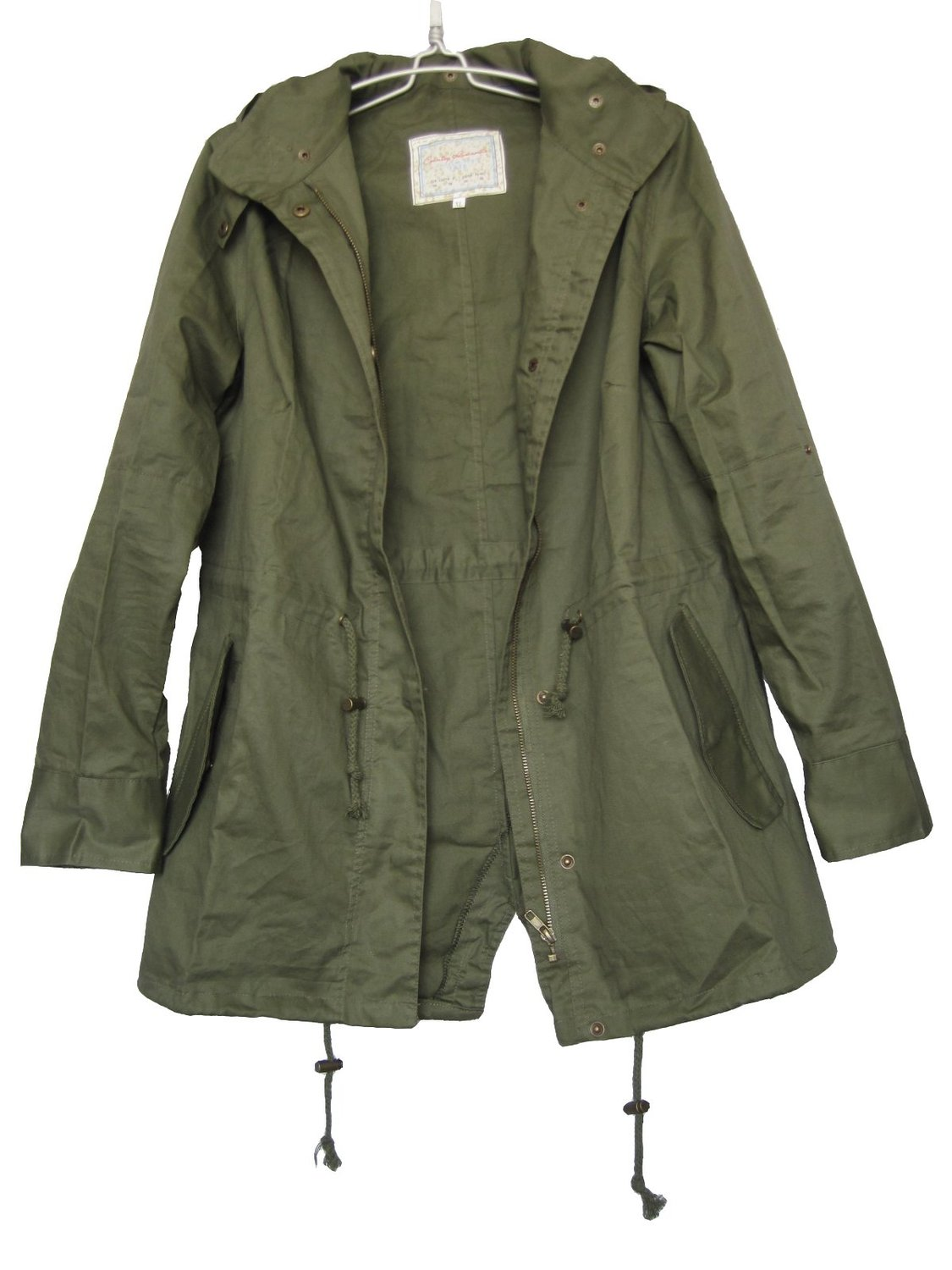 Women's Hooded Drawstring Military Jacket Parka Coat Army Green ...