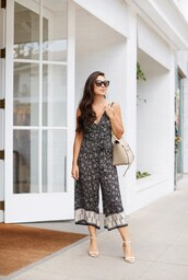 jumpsuit,nude bag,tumblr,cropped jumpsuit,sandals,sandal heels,high heel sandals,white sandals,bag,sunglasses,shoes