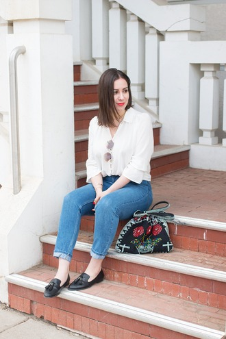 adventures in fashion blogger blouse jeans bag shoes sunglasses jewels