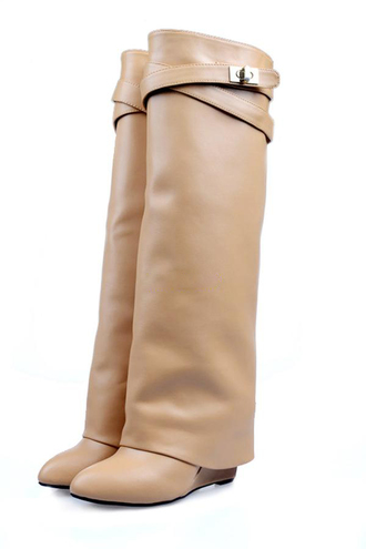 shoes women's boots cowhide leather binoculars slope straight boots black beige givenchy