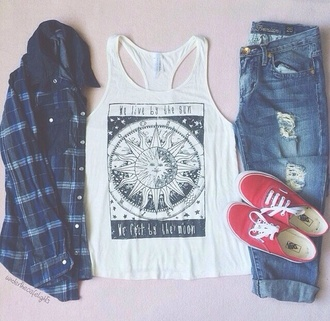 t-shirt plaid jeans jacket plaid jacket grunge moon and sun sun and moon tee sun moon pastel tumblr outfit weheartit accessories boho boho shirt hippie summer summer outfits fall outfits