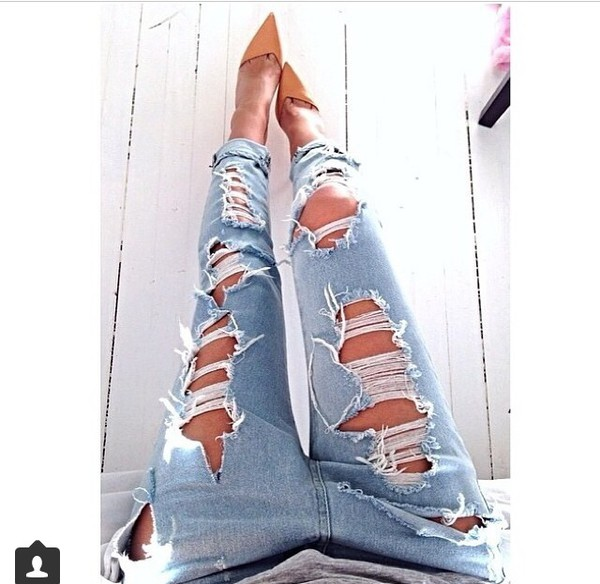 jeans ripped ripped heels faded denim shoes