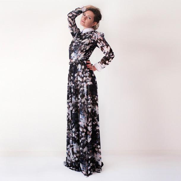 Dress Flowy Dress White Collar Maxi Dress Prom Dress Floral