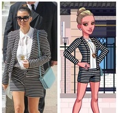 jacket,outfit,blouse,kourtney kardashian,striped shorts,striped jacket,white shirt