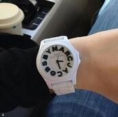 jewels,marcjacobs watch,white watch