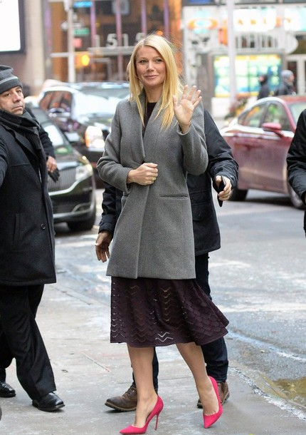 dress pointed toe gwyneth paltrow pumps shoes manolo blahnik pointed toe grey coat d'orsay pumps