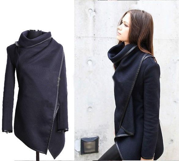 Woolen black long sleeve thick jacket az902d