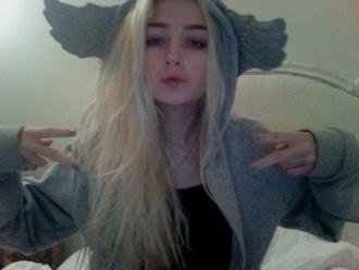jacket pegasus wings cute pale grunge blonde hair hoodie sweater