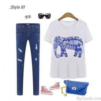 shirt unique clothing elephant t-shirt cool womens fashion shirt