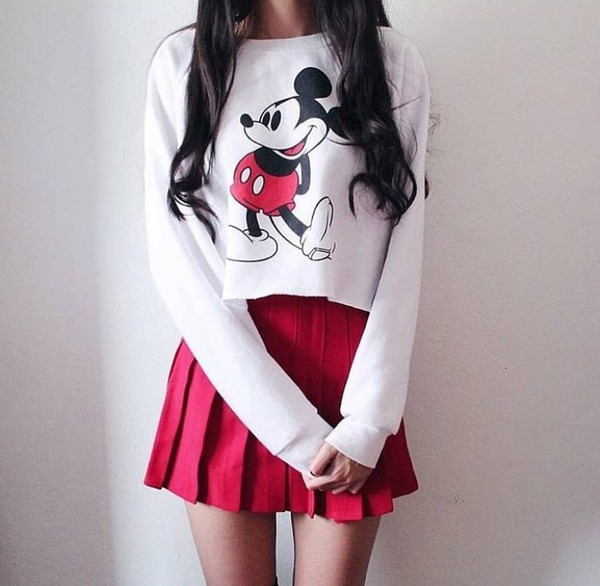 blouse white micky mouse shirt red skirt instagram sweater