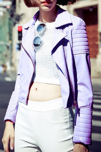 jacket zaful pastel urban leather jacket grunge mesh pastel grunge purple streetstyle 90s style cute