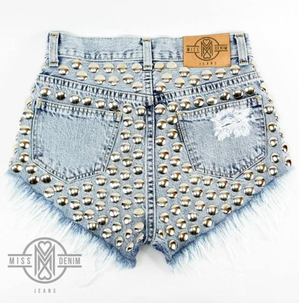 shorts, diy, diy shorts, dyed shorts, shorts with spikes ...
