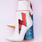 shoes,girly,sparkle,glitter,booties,ankle boots,white,red,blue,heel boots,zip