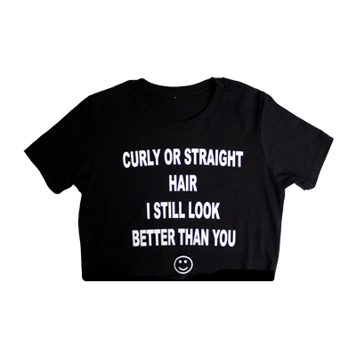 Curly or straight crop t (black)