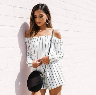 romper prettylittlething jumpsuit summer summer outfits blogger top blogger lifestyle pin stripes black and white