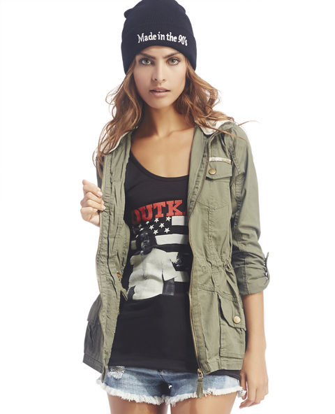 Embellished Hooded Anorak Jacket | Wet Seal