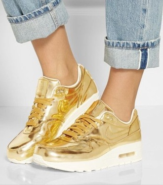 shoes sneakers nike gold air max metallic shoes