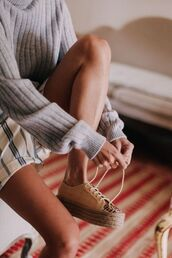 shoes,superga,espadrilles,platform espadrilles,shorts,striped shorts,sweater,grey sweater