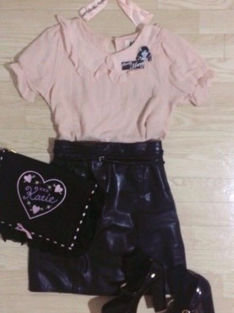 blouse peter pan collar pink ruffle ruffle pastel