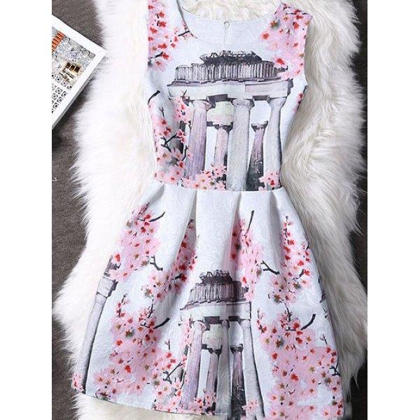 Concealed Zipper High-Waist Print Dress