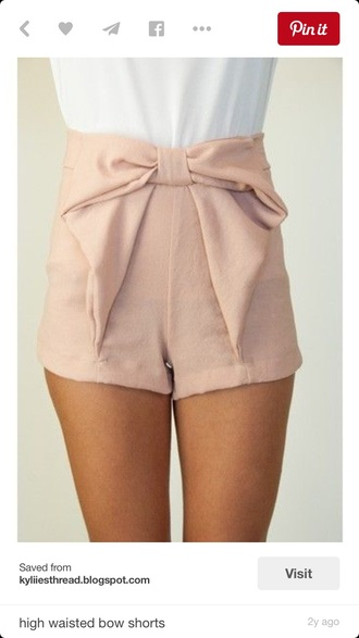 shorts bows fashion pink shorts pink high wasted shorts cute shorts