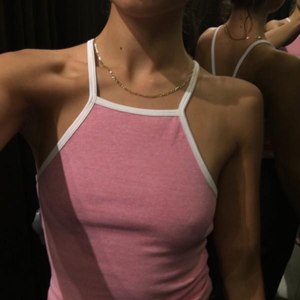 shirt border pink crop tops halter top halter crop top