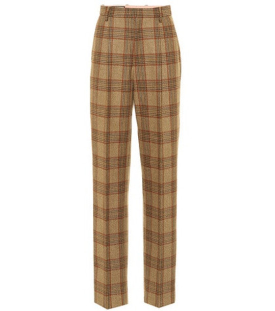 Gucci Plaid wool pants in brown