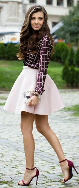 blouse skirt burgundy shirt purple purple shirt baby pink fashion amazing beautiful trendy cute chic skit pink shoes pink skirt dress skater skirt checkered blouse
