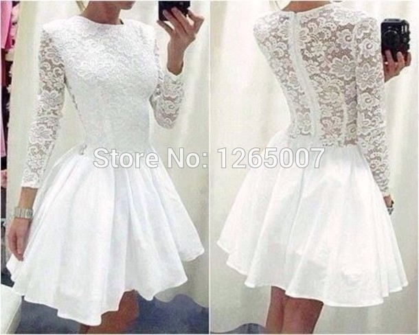Aliexpress.com : Buy Round Neck Long Sleeves Lace Pattern Designer Mini Short A Line Party Dresses Gowns White Lace Cute from Reliable lace motif suppliers on SFBridal