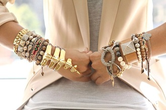 jewels gold sequins blazer bracelets peach top jacket statement jewelry