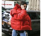 jacket,kendall jenner,red jacket,red,puffer jacket,padded jacket