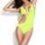 Neon Green Ruffle Triangle Push up One-Piece Swimwear | Emprada