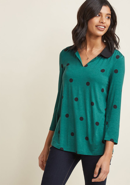 blouse top style cropped polka dots black knit green