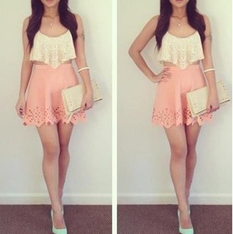 dress peach white tank top lace flowy top skirt lace eyelet crop tops vintage tank top blouse pink top singlet bag handbag whole outfit.. pants shoes