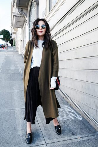 the fancy pants report blogger pants sweater shoes coat sunglasses loafers fall outfits white sweater