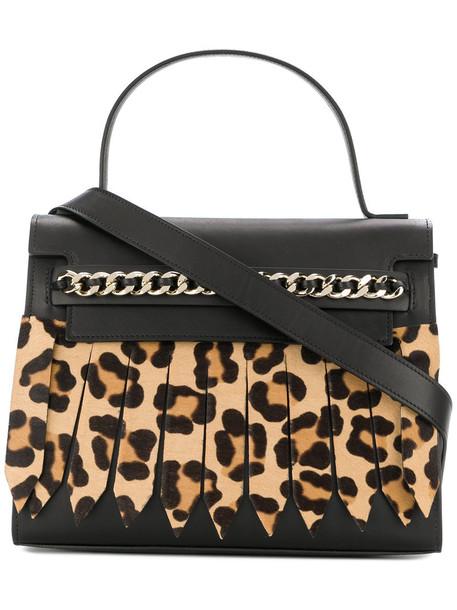 Casadei - leopard effect tote bag - women - Satin/Calf Leather/Calf Hair - One Size, Black, Satin/Calf Leather/Calf Hair