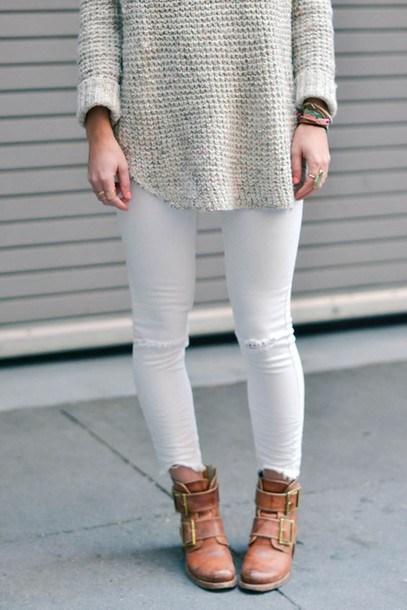 Shoes brown leather boots white jeans white ripped jeans white knitted sweater frye ankle ...