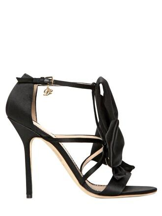 bow sandals satin black shoes