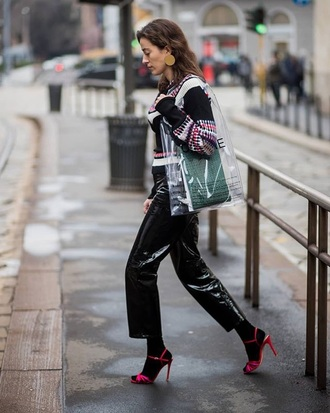 pants leather pants black pants cropped pants sandals socks and sandals streetstyle sweater knitwear transparent