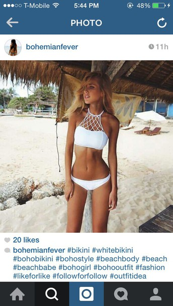 swimwear boho bikini white bikini summer
