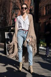 scarf,nyfw 2017,fashion week 2017,fashion week,streetstyle,blanket scarf,fringes,shirt,white shirt,jeans,denim,blue jeans,boots,printed boots,sunglasses,necklace,jewels,jewelry
